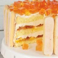 tort z brzoskwiniami i galaretką