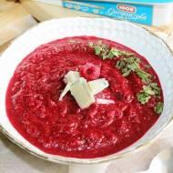 Zupa krem z pieczonych buraków i malin z gorgonzolą