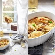 Udka kurczaka w majonezie i musztardzie, pieczone na kapuście kiszonej
