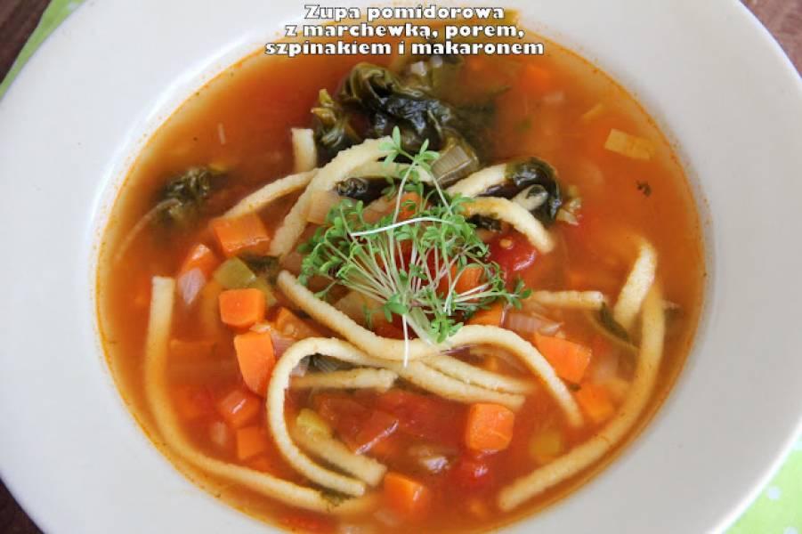 Zupa pomidorowa z marchewką, porem, szpinakiem i makaronem