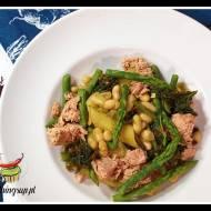 Makaron z jarmużem, fasolą canelinni, szparagami i tunczykiem