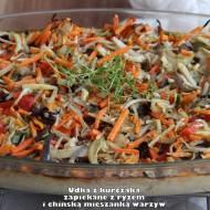 Udka z kurczaka zapiekane z ryżem i chińską mieszanką warzyw