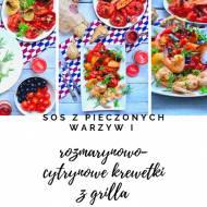 Rozmarynowo- cytrynowe krewetki z pieczonymi warzywami z sosem pomidorowym