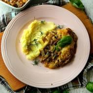 Schab zapiekany z pieczarkami w sosie curry