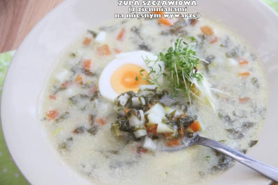 Zupa szczawiowa (z ziemniakami na mięsnym wywarze)