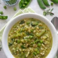Wiosenna zupa z groszkiem, fasolką szparagową i ziarnami zbóż (Minestrone con piselli, fagiolini e cereali)