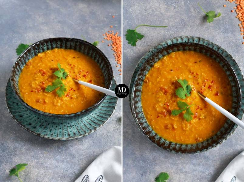 Dal z pomidorami – Gęsta zupa z soczewicy z pomidorami