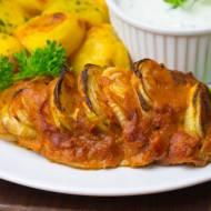 Polędwiczka wieprzowa w marynacie keczupowej pieczona z cebulą