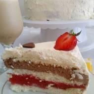 Tort biszkoptowy z galaretką truskawkową i musem czekoladowym