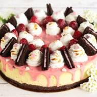 Sernik waniliowy z malinami (bez glutenu, cukru białego) na urodzinki