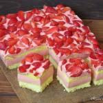 Truskawkowe ciasto z serków Danio
