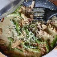 Spaghetti a'la Carbonara z zielonymi szparagami