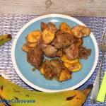 Wątróbka drobiowa z cebulą i plantanami