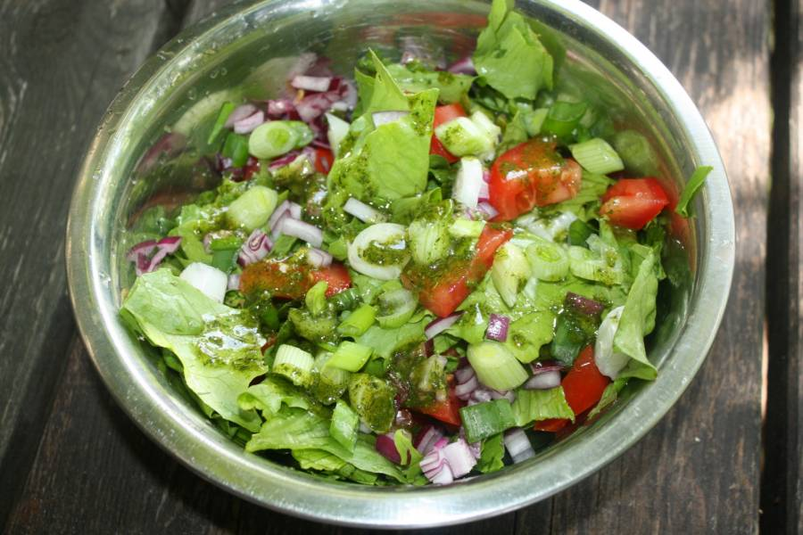 Letnia surówka obiadowa z sałatą i dymką