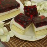 Ciasto z galaretką , jagodami i bitą śmietaną