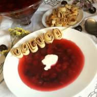 Zupa wiśniowa z makaronem naleśnikowym