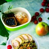 Lunchbox-makaron  szpinakowy z kurkami