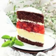 Sernikowe ciasto z kremem i galaretką z truskawkami