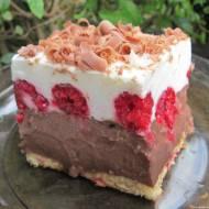 Ciasto czekoladowo-śmietankowe z malinami bez pieczenia