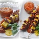 Szaszłyki z kiełbasy i mango. Kiełbasa curry