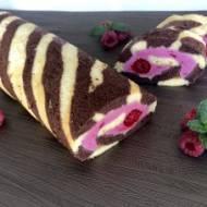 Dwukolorowa rolada biszkoptowa z malinami
