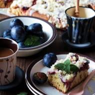 Maślane ciasto maślankowe ze śliwkami - bez miksera, porcja na dużą blachę