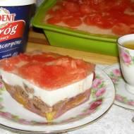 smaczny brzoskwiniowo-arbuzowy z czekoladą sernik na zimno...