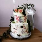 Tort weselny ręcznie malowany
