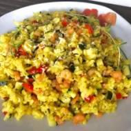 Ziołowe risotto z warzywami i krewetkami