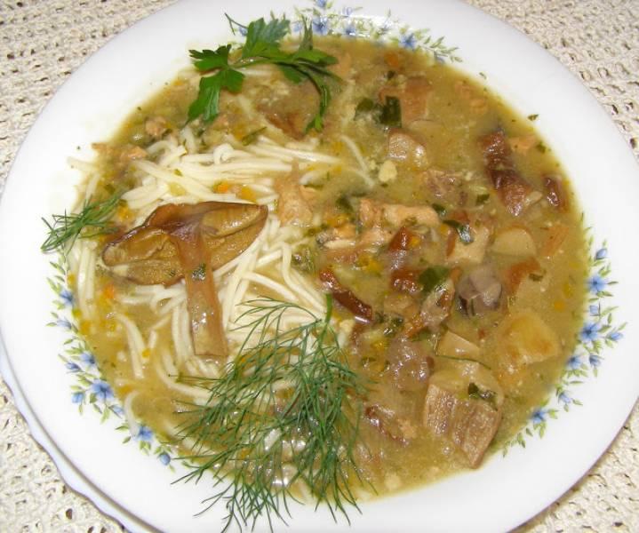 grzybowa zupa z podgrzybków z makaronem...