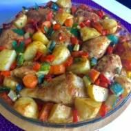 Kurczak w musztardzie pieczony z warzywami