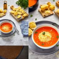 Zupa peperonata z cheddarem- z pieczonej papryki i pomidorów