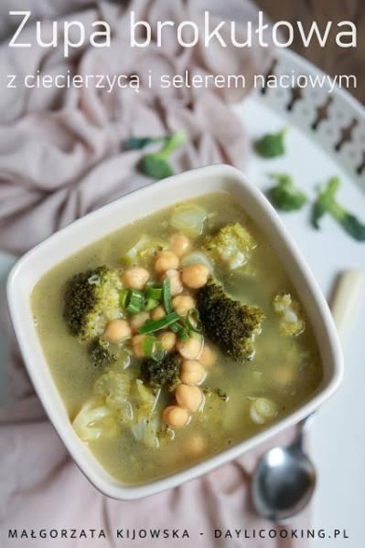 Zupa brokułowa na maśle, z ciecierzycą i selerem naciowym