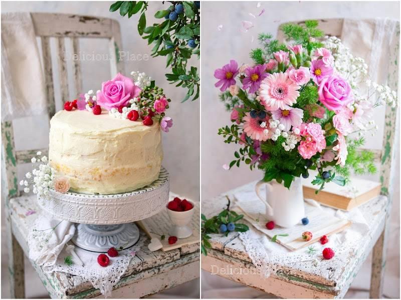 Tort waniliowy z malinami i białą czekoladą / Vanilla cake with raspberries and white chocolate