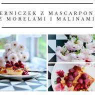 Serniczek z mascarpone, morelami i malinami