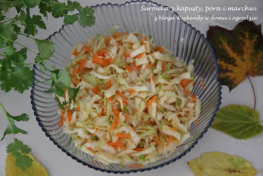 Surówka z kapusty, pora i marchewki