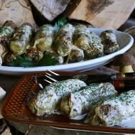 Złociste gołąbki z grzybami leśnymi, kuskusem i grana padano