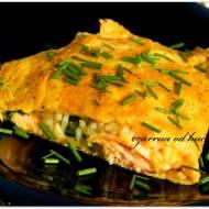 Omlet z ryżem i pstrągiem