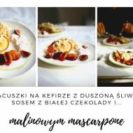 Placuszki na kefirze z duszoną śliwką, sosem z białem czekolady i malinowym mascarpone
