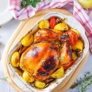 Pieczony kurczak z jabłkami