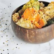 Ryż i kuskus z brokułami i marchewką