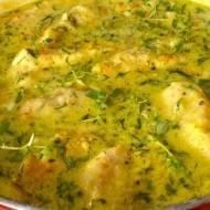 Fileciki drobiowe w sosie serowym z warzywami