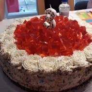 Tort z bitą śmietaną i galaretką