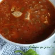 Szybka zupa pomidorowa z ryżem i kurczakiem