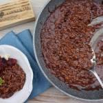 Czekoladowe risotto z migdałami i żurawiną