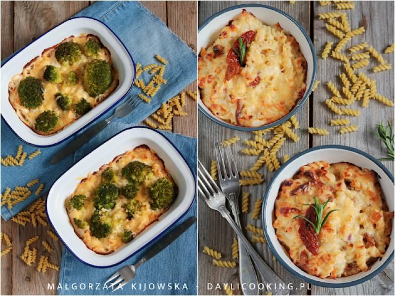 Zapiekanka makaronowa z sosem serowym na dwa sposoby - z brokułem i suszonymi pomidorami