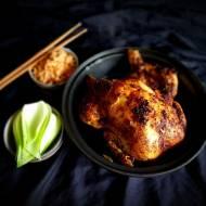 Kurczak pieczony w czosnku i imbirze, ryż z Peana Raya i Pak Choi