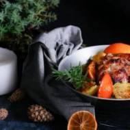Pierś kacza w pomarańczach z pieczonymi ziemniakami