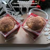 Mini tiramisu z kremem kajmakowym i frużeliną truskawkowo-malinową