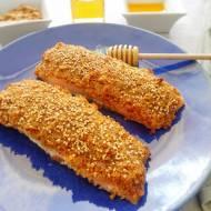 Pieczony łosoś w panierce miodowo-musztardowej (Filetti di salmone in crosta di miele e senape)